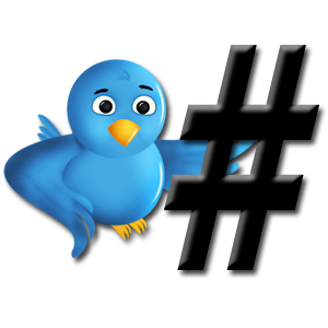 Twitter bird and hashtag